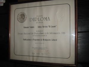 Diploma del Premio Nacional de Periodismo 1981